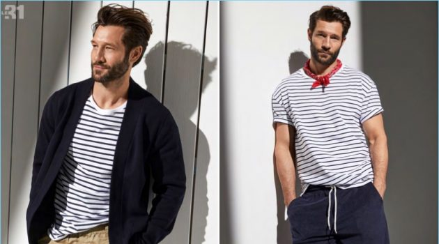 Left: John Halls wears a cardigan, striped t-shirt, and linen/cotton pants by LE 31. Right: The model sports LE 31's striped t-shirt, bouclé terry shorts, and a paisley bandana.
