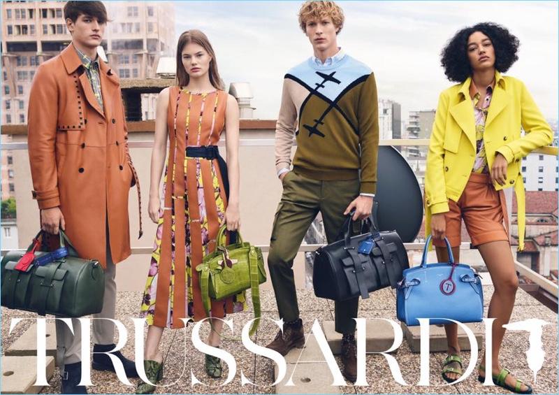 Models Jegor Venned,  Myrthe Bolt, Sven de Vries, and Damaris Goddrie star in Trussardi's spring-summer 2018 campaign.
