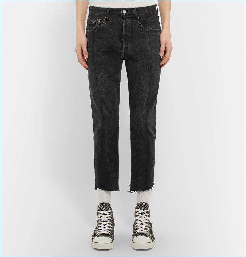 Vetements Levis Slim-Fit Panelled Denim Jeans