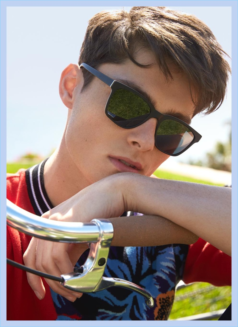 A cool vision, Quinn wears Warby Parker's Barkley sunglasses.