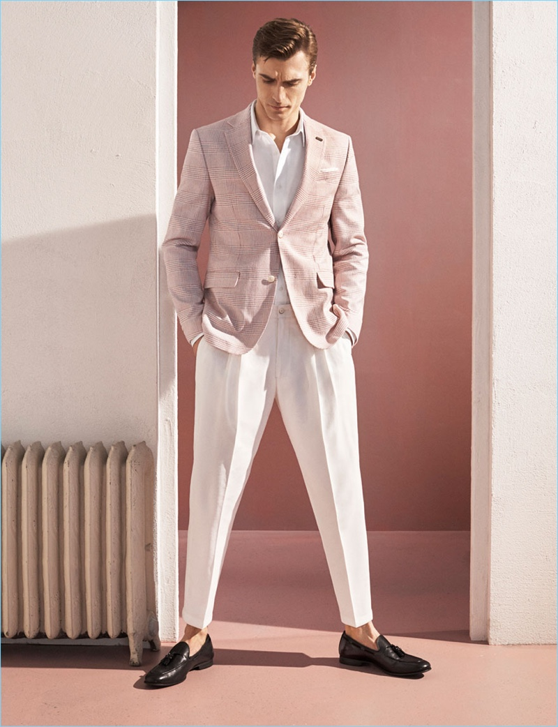Embracing spring pastels, Clément Chabernaud dons suiting by Zara.