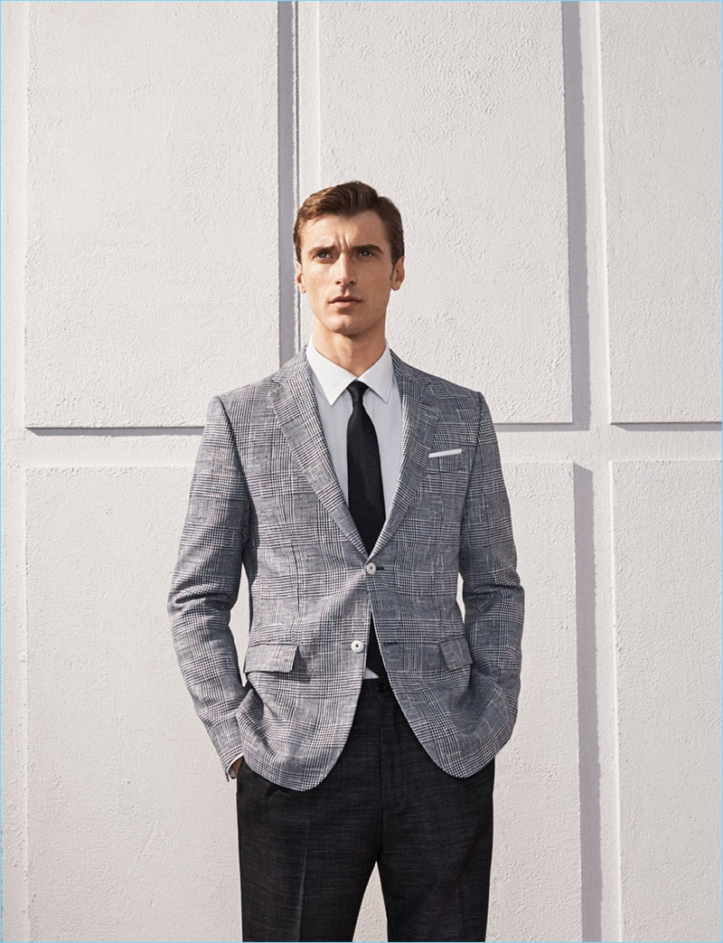 French model Clément Chabernaud wears a tailored look from Zara.