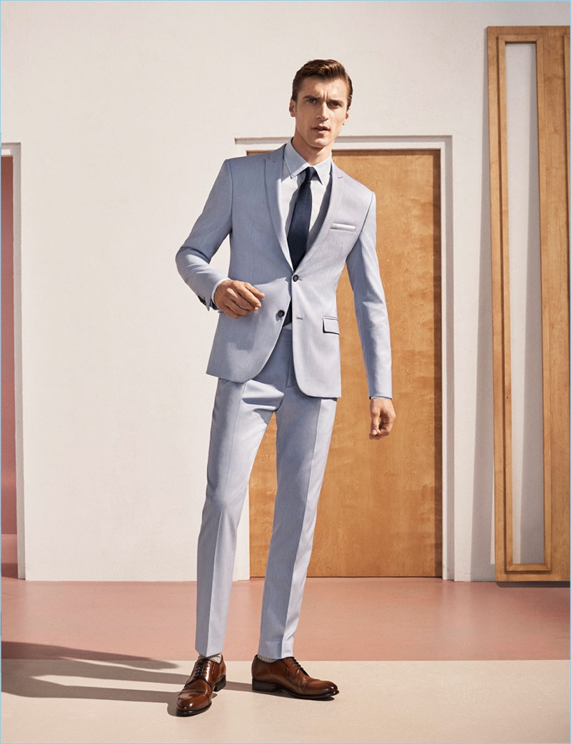 A sharp vision, Clément Chabernaud models a Zara suit in grey.