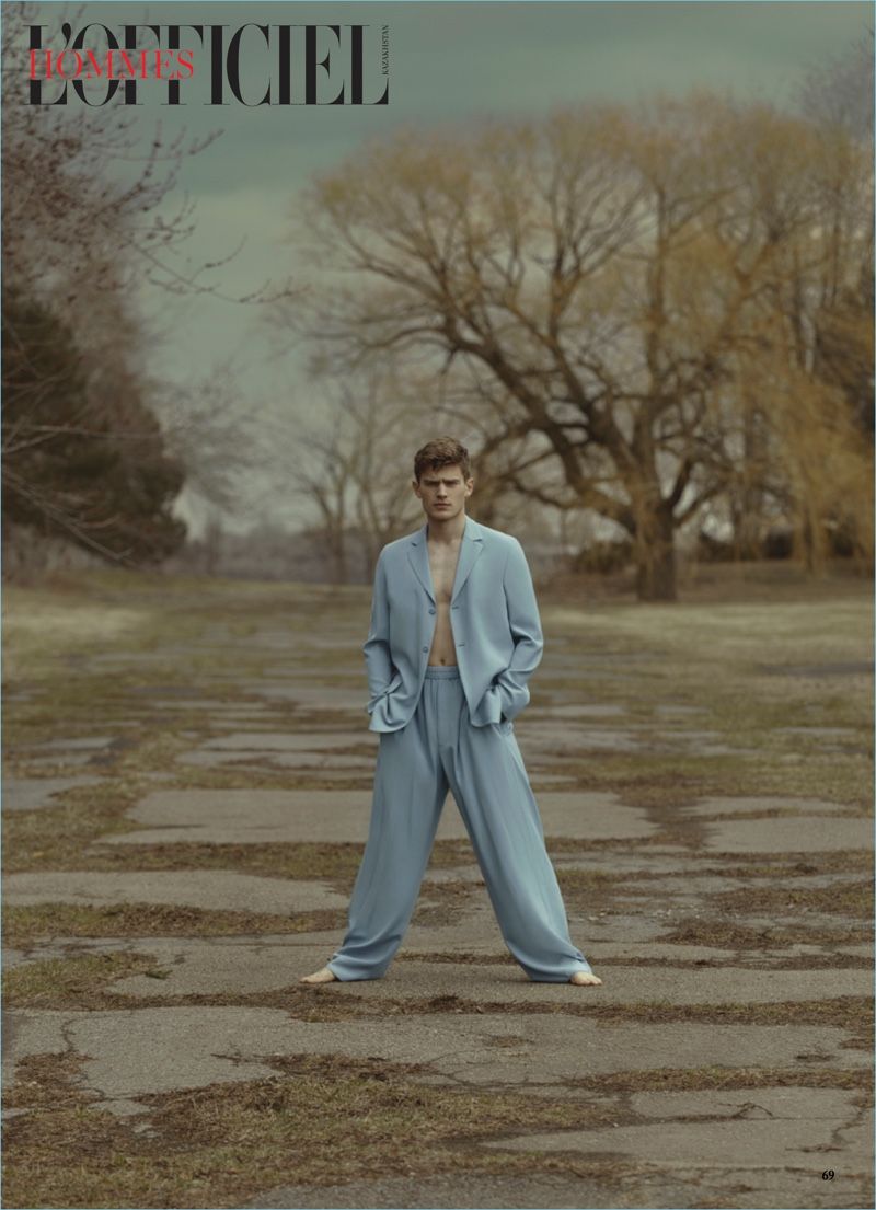 Bo Develius Embraces Relaxed Proportions for L'Officiel Hommes Kazakhstan