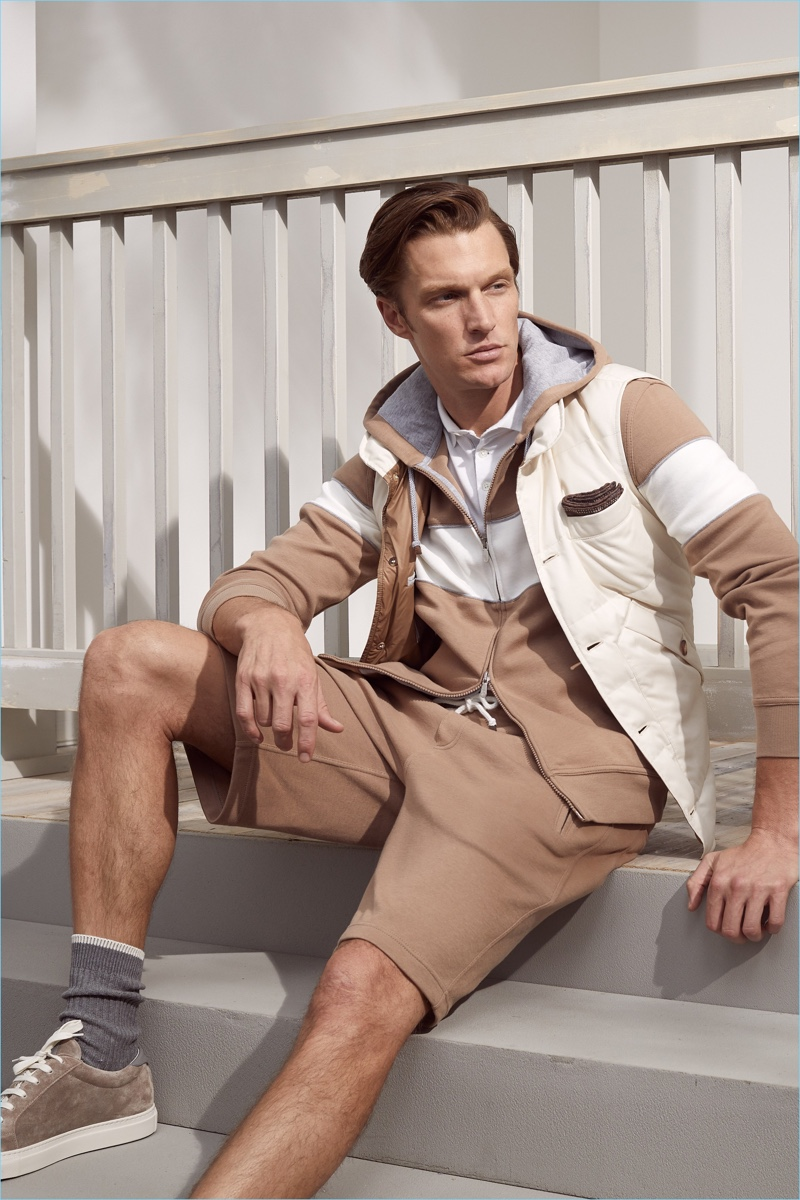 Shaun Dewet wears a look from Brunello Cucinelli's spring-summer 2019 collection.