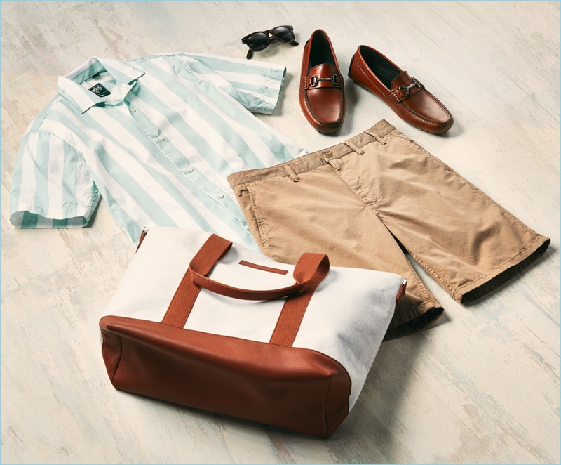 Norse Projects shorts, Gitman Vintage striped shirt, To Boot New York loafers, Want Les Essentiels tote, and Ray-Ban wayfarer sunglasses.