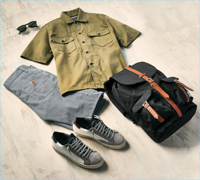 P448 sneakers, Raen sunglasses, Carhartt WIP shorts, Herschel Supply Co. backpack, and Our Legacy short-sleeve shirt.