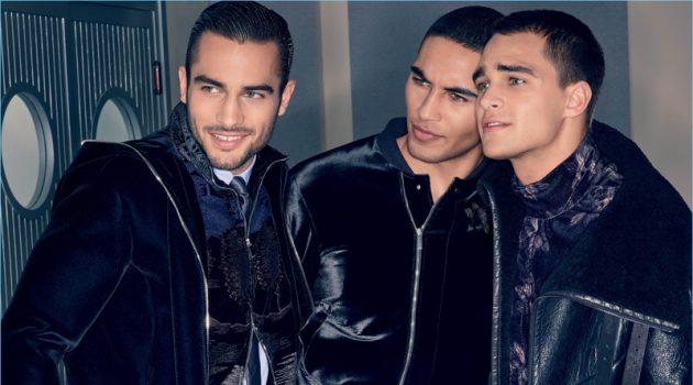 Models Aleksandar Rusic, Leroy Mortiz Aiyanyo, and Pepe Barroso front Emporio Armani's fall-winter 2018 campaign.