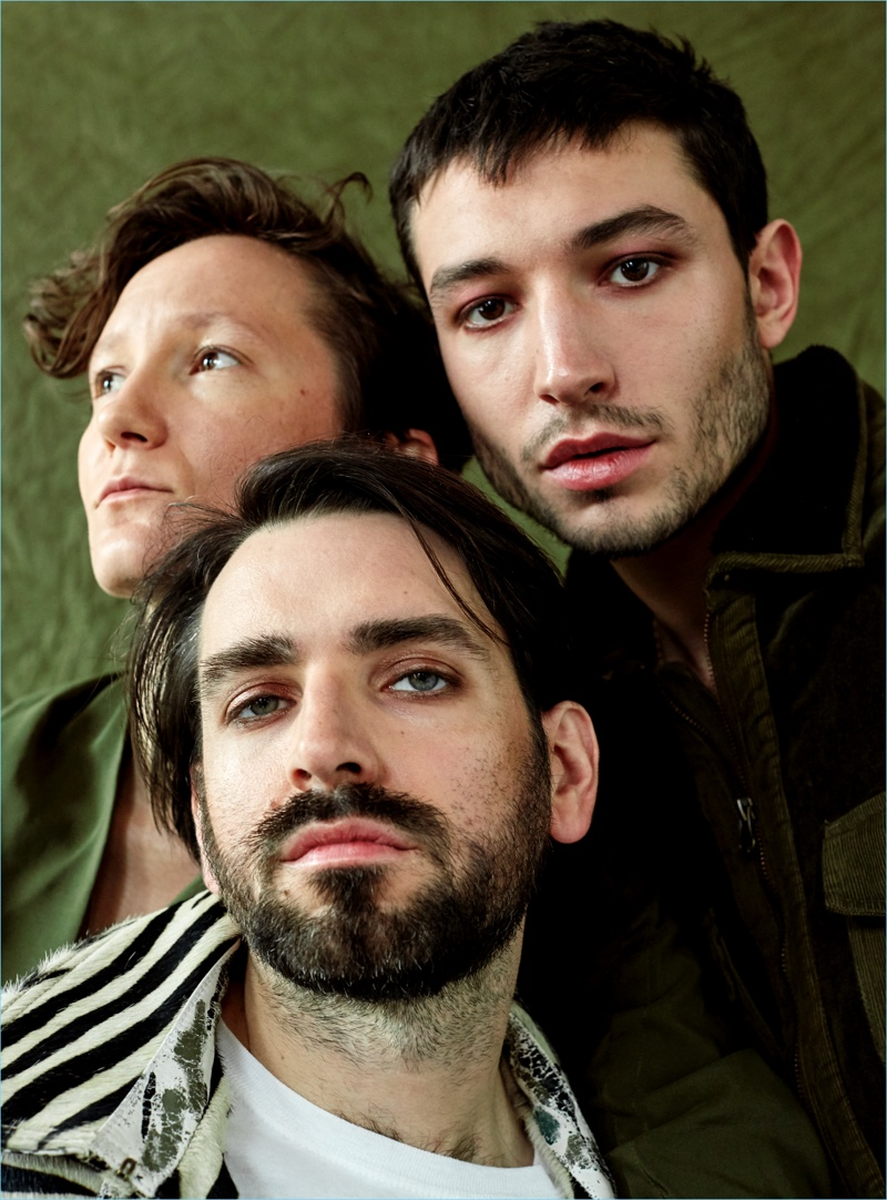 Actor Ezra Miller poses with his band Sons of an Illustrious Father.