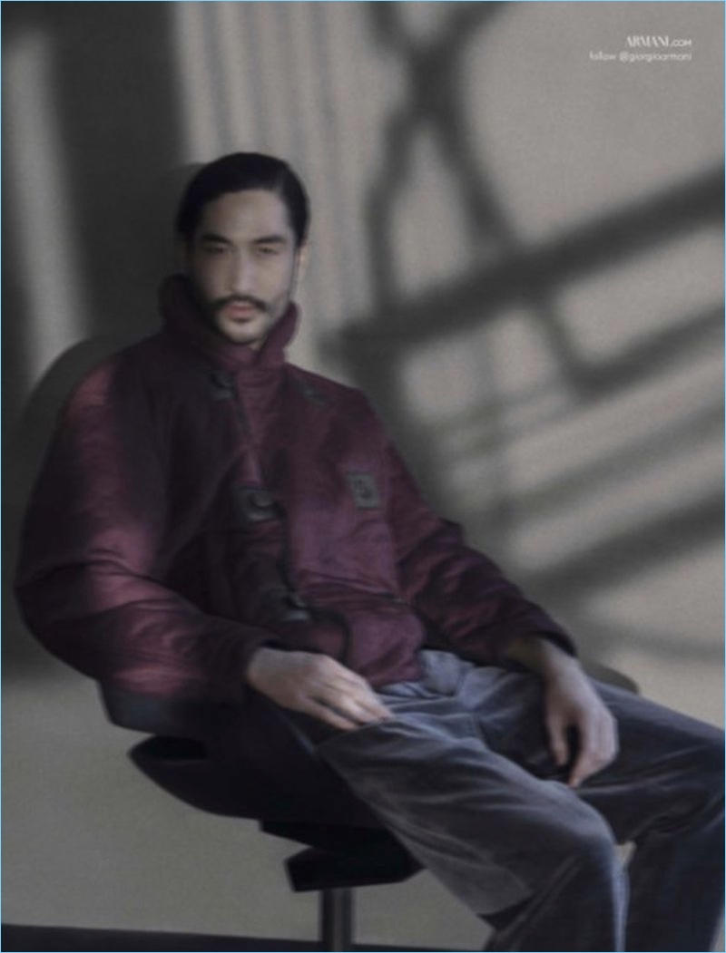 Sitting for a portrait, Tony Thornburg appears in Giorgio Armani's fall-winter 2018 campaign.