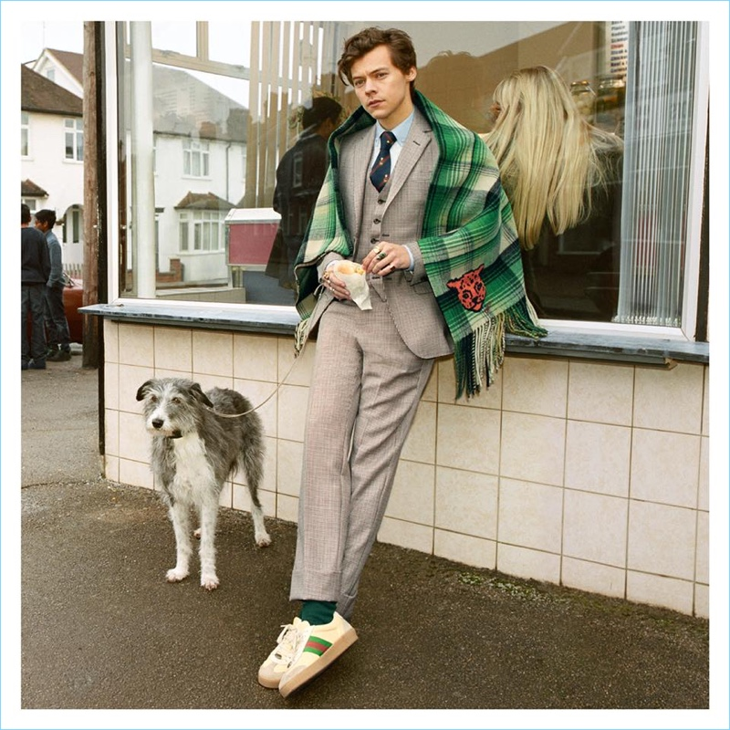 Harry Styles dons a three-piece suit for Gucci's fall-winter 2018 tailoring campaign.