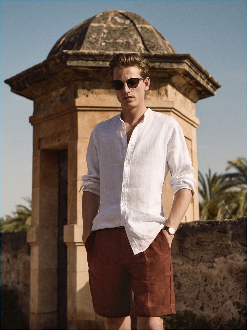 Donning Bermuda shorts, Hugo Sauzay is the epitome of Mango Man's summer style.