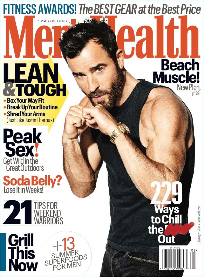 Justin Theroux covers the July/August 2018 issue of Men's Health.