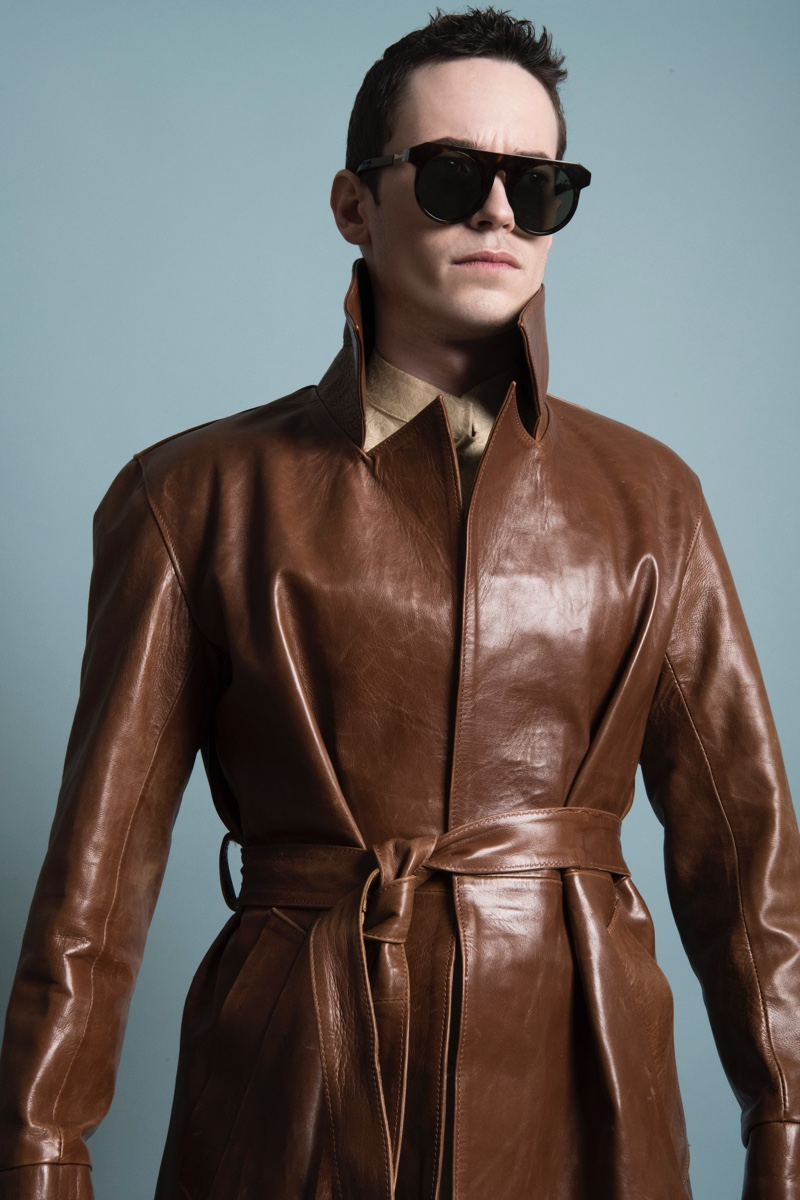 Kevin wears leather coat Jacquie Series and sunglasses VAVA.