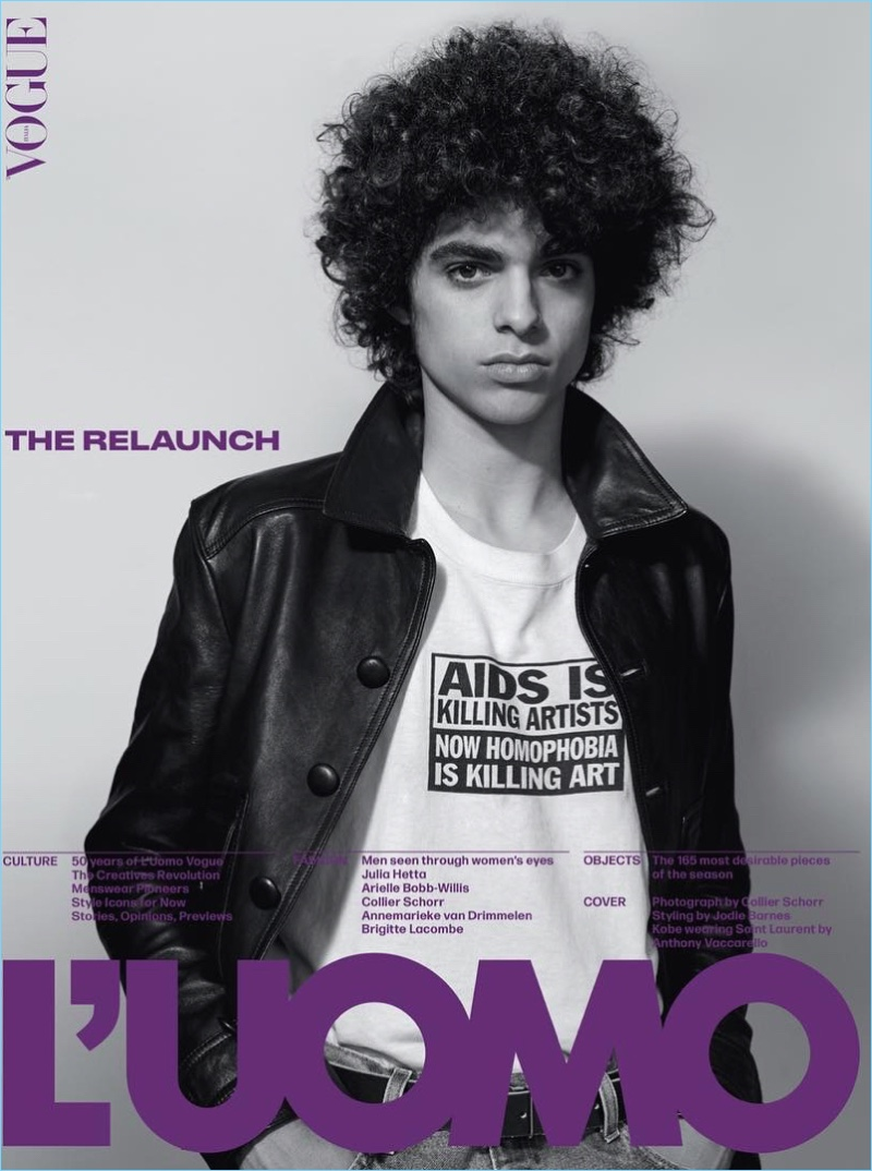 Kobe Delgado covers L'Uomo Vogue in Saint Laurent. He is photographed by Collier Schorr with styling by Jodie Barnes.