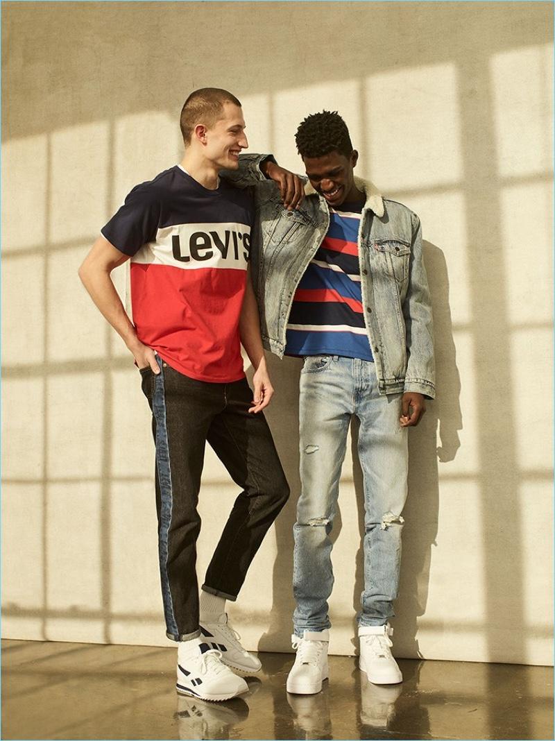 Models Frederik Woloszynski and Anarcius Jean wear fall 2018 looks from Levi's.