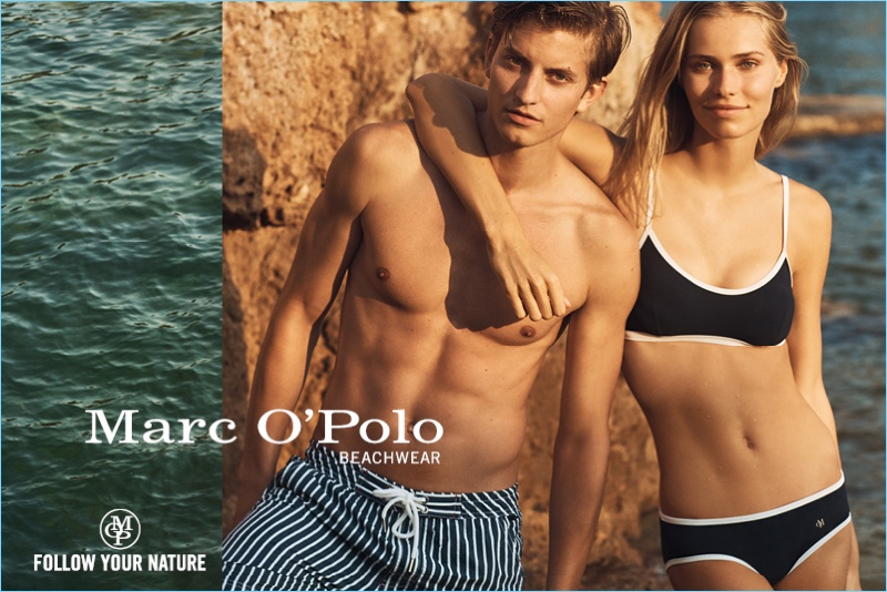 Models Benjamin Benedek and Kirstin Liljegren come together for Marc O'Polo's summer 2018 beachwear campaign.