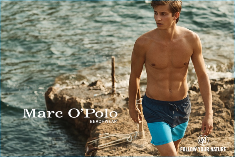 Benjamin Benedek stars in Marc O'Polo's summer 2018 beachwear campaign.