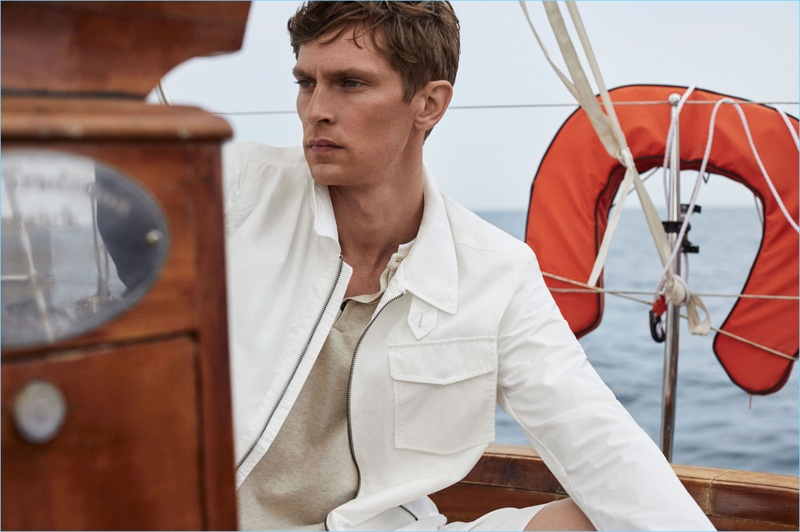 Danish model Mathias Lauridsen wears seafaring style from Massimo Dutti.
