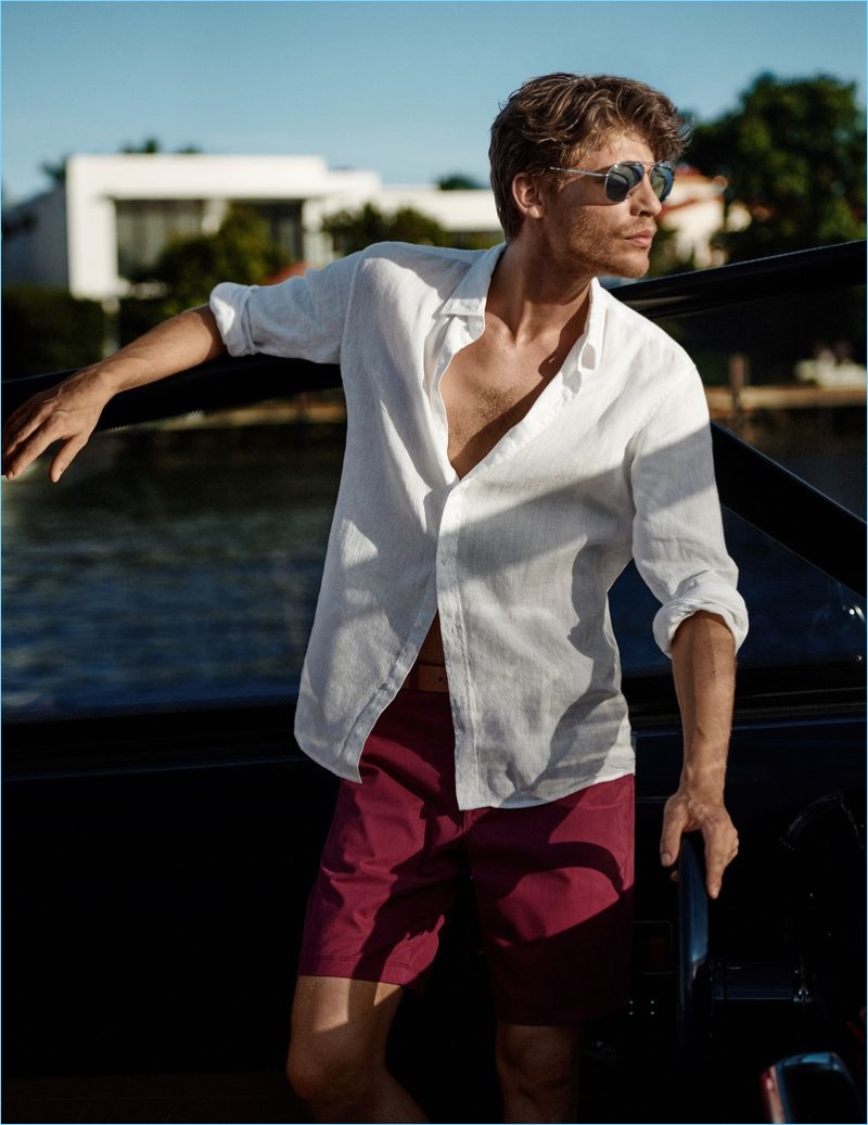 A summertime vision, Baptiste Radufe wears linen from Michael Kors.