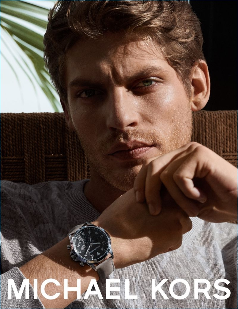 French model Baptiste Radufe fronts Michael Kors' spring-summer 2018 watches campaign.