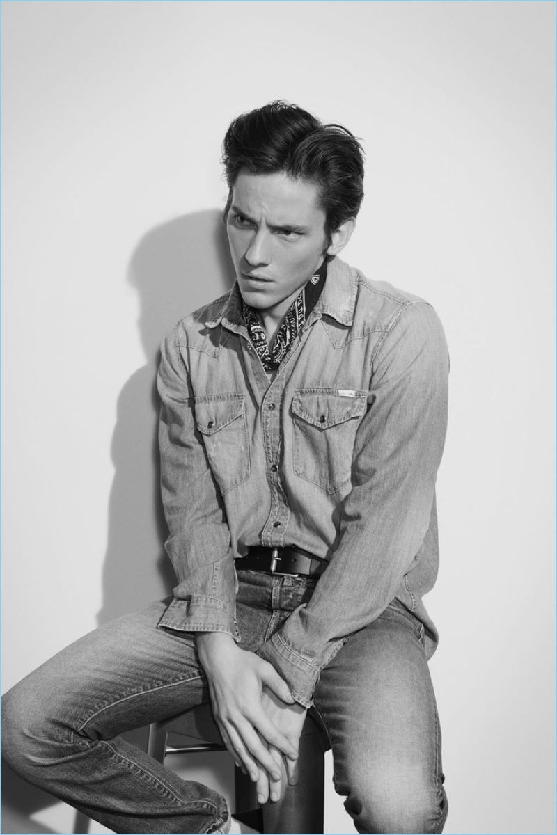 Doubling down on denim, Robby Rasmussen wears a shirt and jeans from Mother Denim.