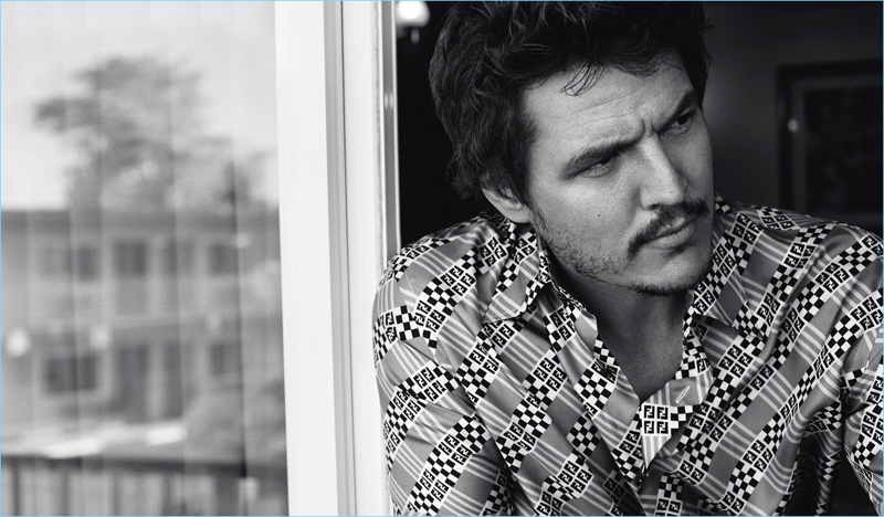 Donning a Fendi shirt, Pedro Pascal stars in a new photo shoot.