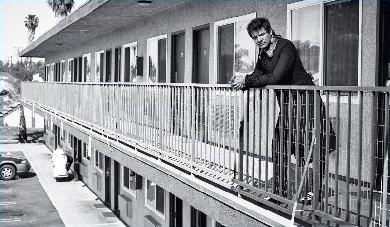 Connecting with Style Magazine Italia, Pedro Pascal wears Dolce & Gabbana.
