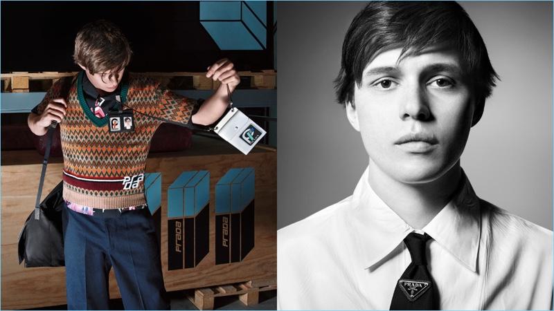 Nick Robinson fronts Prada's fall-winter 2018 campaign.