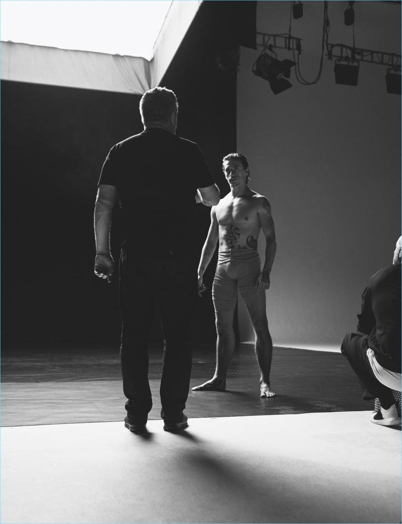 Dancer Sergei Polunin on set for his Hunger TV video.