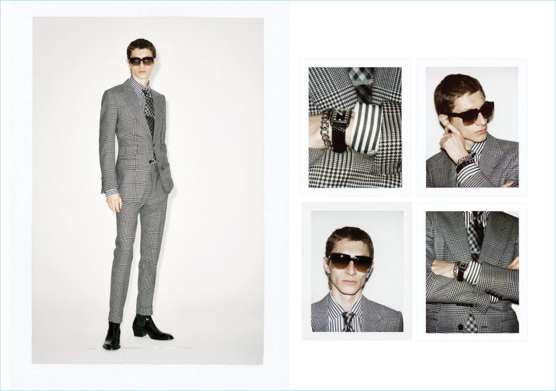 Henry Kitcher dons a houndstooth suit from Tom Ford's spring-summer 2019 collection.