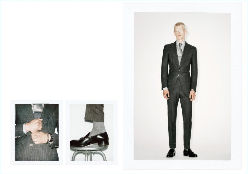 Davey Oldenburg models a grey pinstripe suit from Tom Ford's spring-summer 2019 collection.
