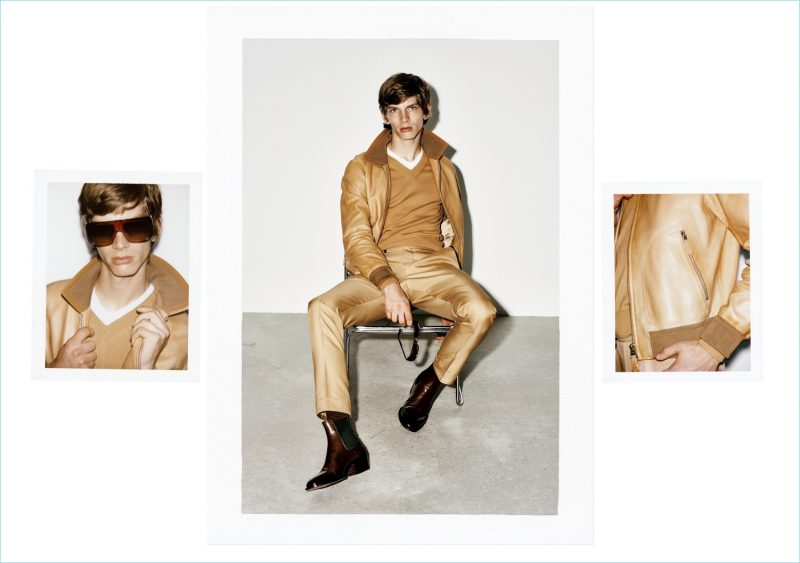 Erik van Gils wears a caramel toned fashions from Tom Ford's spring-summer 2019 collection.
