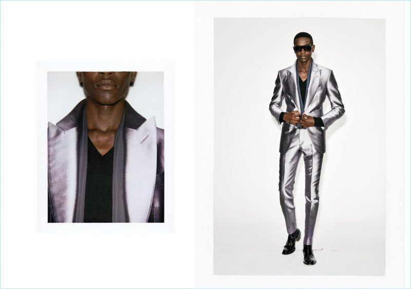 Sharif Idris dons a metallic look from Tom Ford's spring-summer 2019 collection.