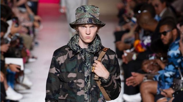 Valentino turns out a camouflage print as part of its spring-summer 2019 men's collection. The fashion house showcased the piece during Paris Fashion Week.
