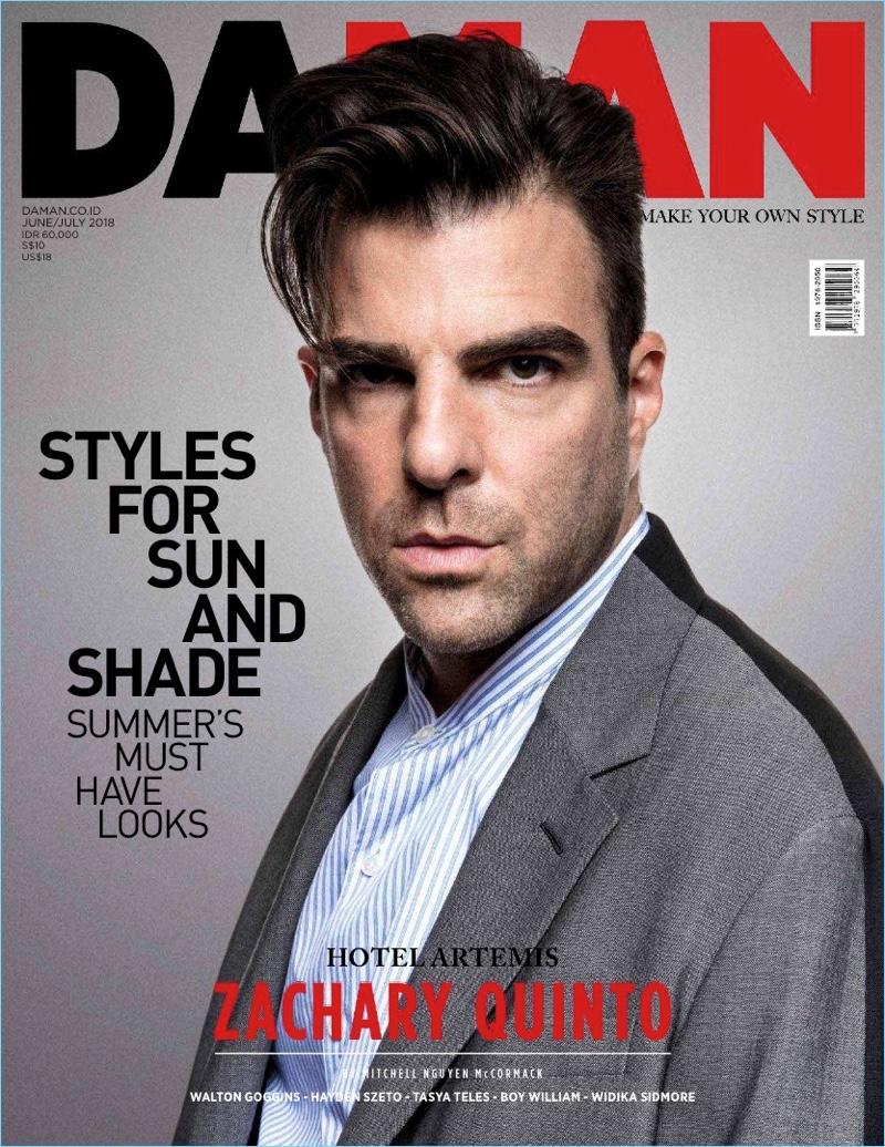 Zachary Quinto covers the June/July 2018 issue of Da Man.