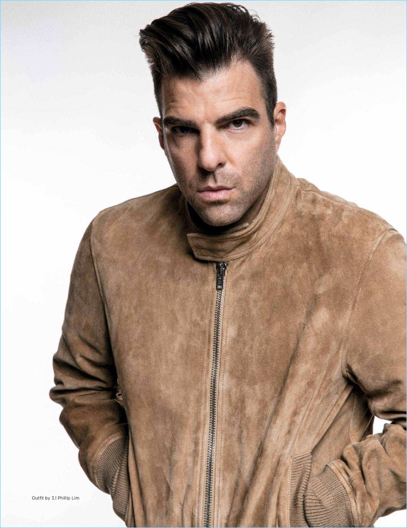 Starring in a new photo shoot, Zachary Quinto wears 3.1 Phillip Lim.
