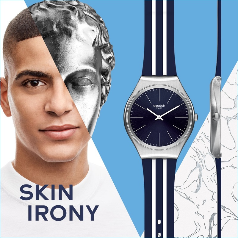 Zakaria Khiare appears in Swatch's Skin Irony campaign.