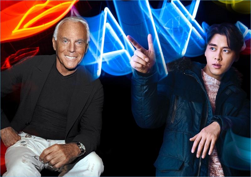Billy Kidd photographs Giorgio Armani and Li Yifeng for Armani Exchange's fall-winter 2018 campaign.