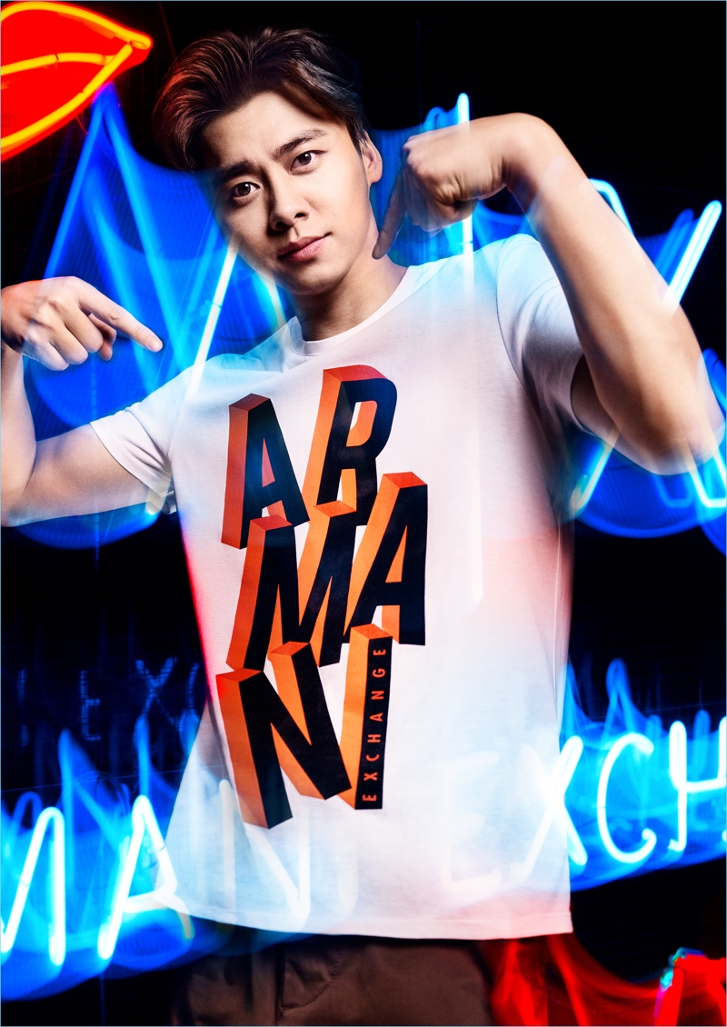 Li Yifeng fronts Armani Exchange's fall-winter 2018 campaign.
