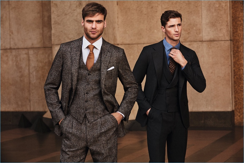 George Alsford and Edward Wilding suit up in dapper looks by Belvest.