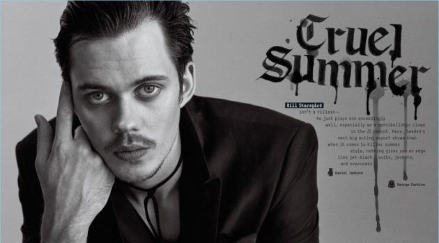 Cruel Summer: Bill Skarsgård Dons Dark Styles for GQ