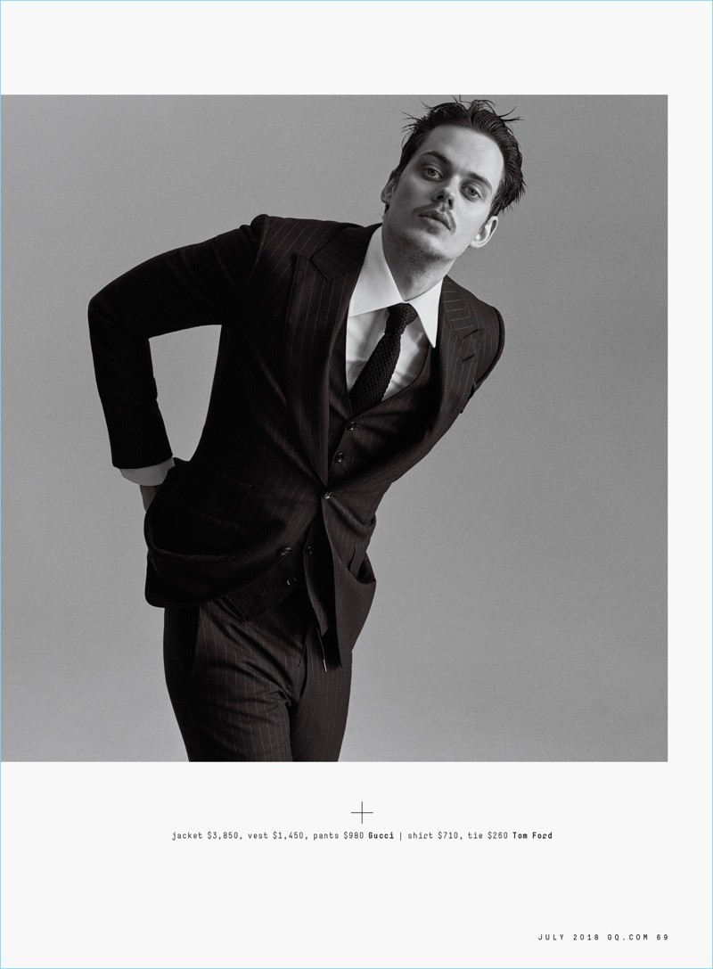 Suiting up in a three-piece Gucci suit with vest, Bill Skarsgård also wears a Tom Ford shirt and tie.