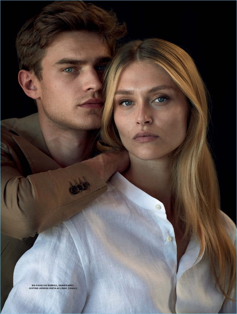 Bo Develius Couples Up with Justine Geneau for Plaza Cover Shoot