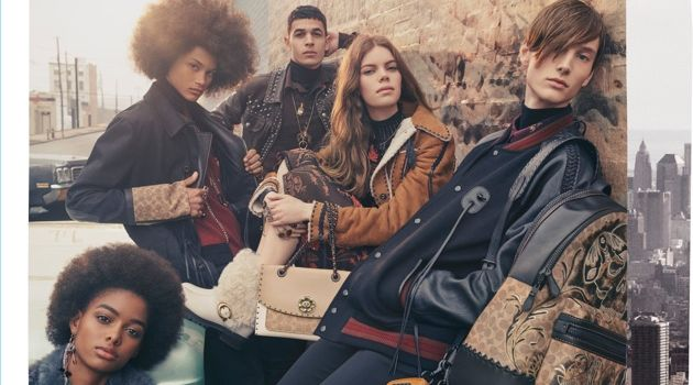 Coach enlists Blesnya Minher, Joaquim Arnell, Ali Latif, Nina Gulien, and William Grant as the stars of its fall-winter 2018 campaign.