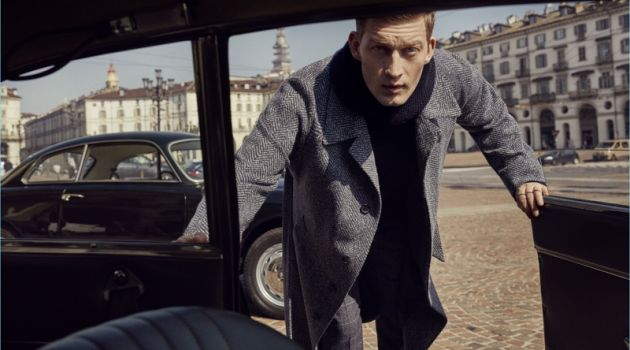 Bastian Thiery stars in Corneliani's fall-winter 2018 campaign.