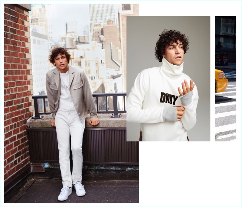 Embracing white looks, Miles McMillan wears DKNY.