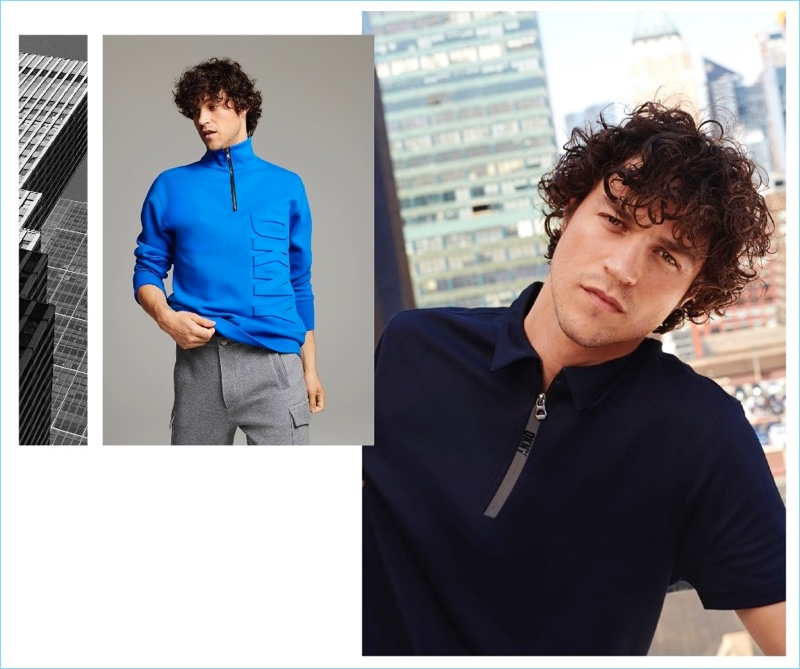 DKNY makes a logo play with its fall-winter 2018 collection. Here, Miles McMillan wears a half-zip pullover and polo.