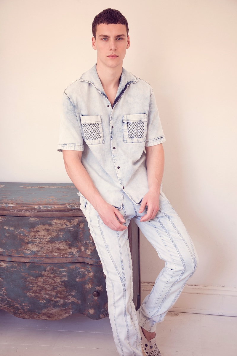 Dima wears all clothes Bottega Veneta.
