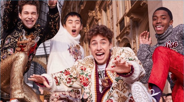 Austin Mahone, Ji Lingchen, Juanpa Zurita, and Christian Combs appear in Dolce & Gabbana's fall-winter 2018 campaign.